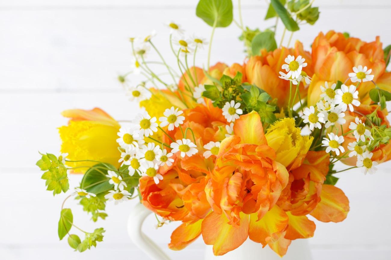オレンジ スタンド花